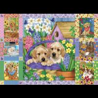 thumb-Quilt met bloesems en puppies - puzzel van 1000 stukjes-1