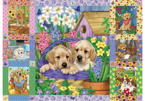 Puppies and Posies quilt - 1000 pieces