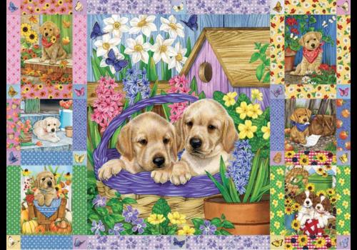 Quilt met bloesems en puppies - 1000 stukjes
