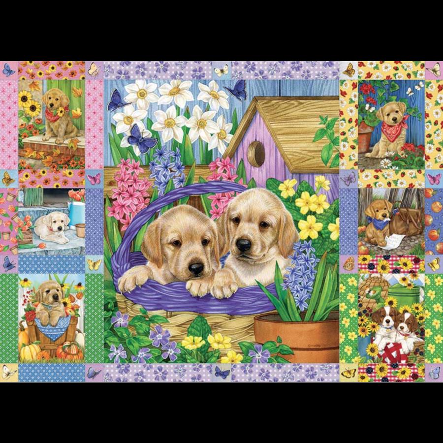 Quilt met bloesems en puppies - puzzel van 1000 stukjes-1
