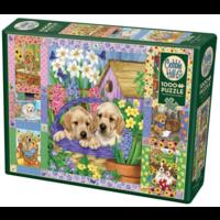 thumb-Quilt met bloesems en puppies - puzzel van 1000 stukjes-2