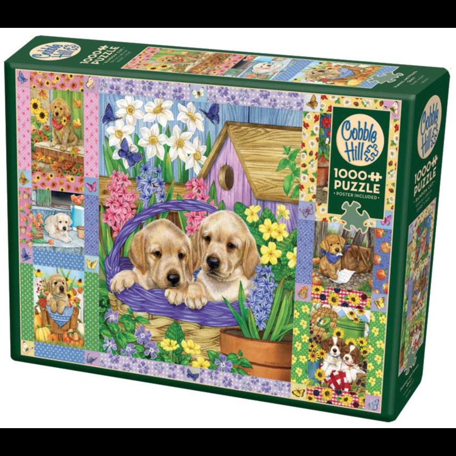 Quilt met bloesems en puppies - puzzel van 1000 stukjes-2