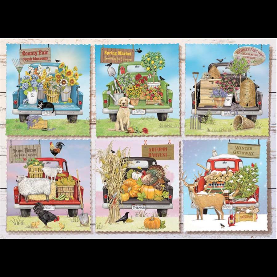 Camions de marché des agriculteurs - puzzle de 1000 pièces-1