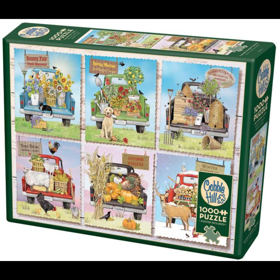 Camions de marché des agriculteurs - puzzle de 1000 pièces-2