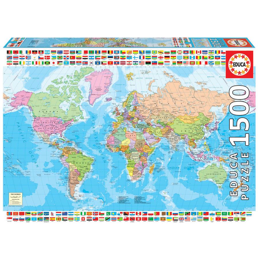 Carte du monde politique - puzzle de 1500 pièces-1