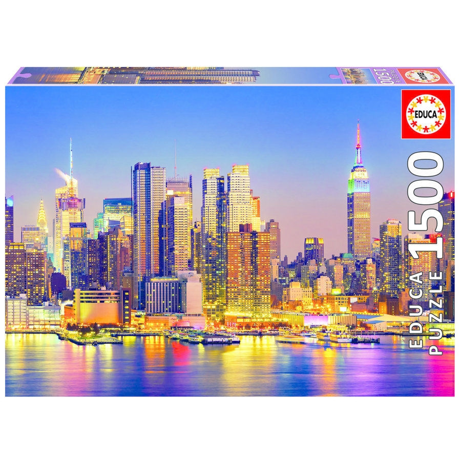 Manhattan bij nacht - legpuzzel van 1500 stukjes-1