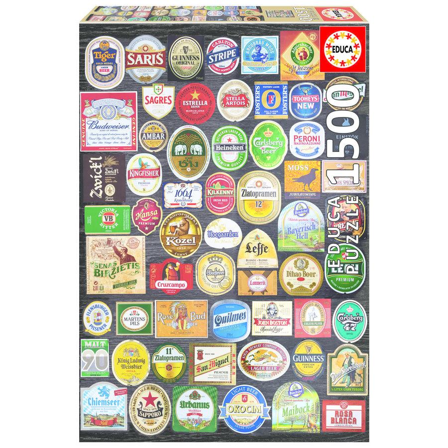Bier etiketten collage - legpuzzel van 1500 stukjes-1