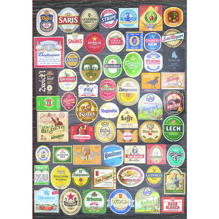 Bier etiketten collage - legpuzzel van 1500 stukjes-2