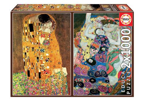 Educa Klimt - 2 x 1000 stukjes puzzel