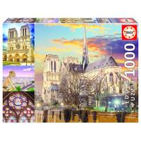 thumb-Collage van de Notre Dame - puzzel 1000 stukjes-1