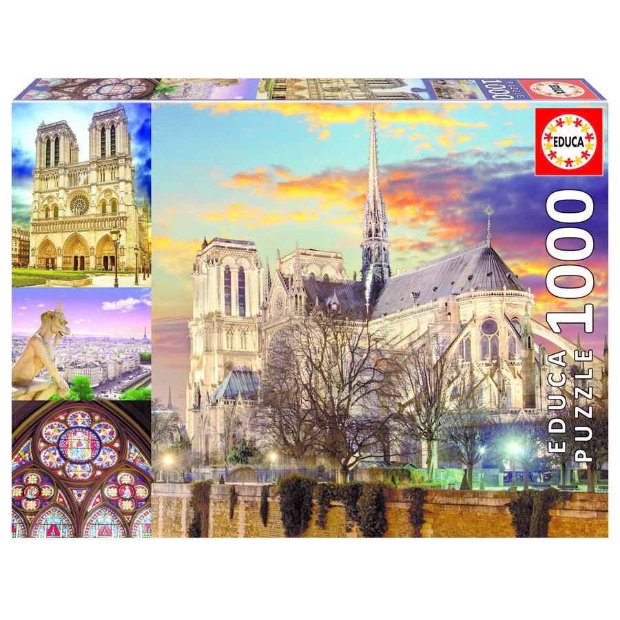 Collage van de Notre Dame - puzzel 1000 stukjes-1