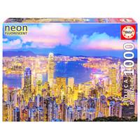 thumb-Hong Kong Skyline - Glow in the Dark - puzzel 1000 stukjes-1