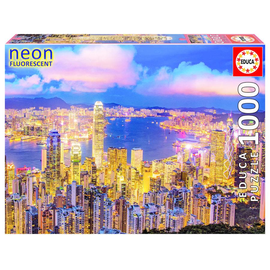 Hong Kong Skyline - Glow in the Dark - puzzel 1000 stukjes-1