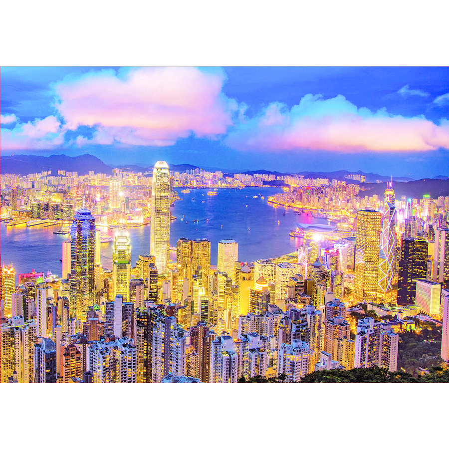 Hong Kong Skyline - Glow in the Dark - puzzle 1000 pieces-3