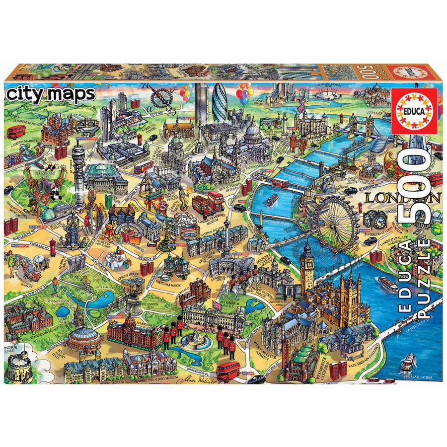Kaart van Londen - legpuzzel van 500 stukjes-1