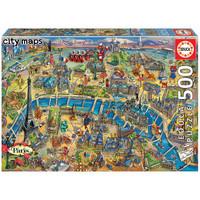 thumb-Kaart van Parijs - legpuzzel van 500 stukjes-1