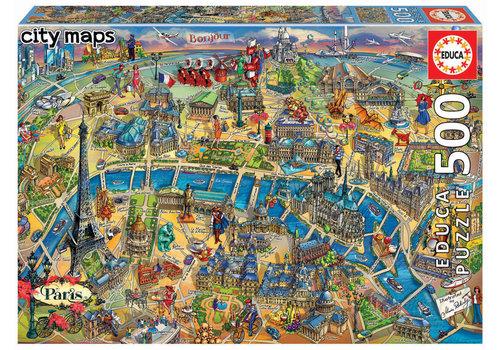 Kaart van Parijs - 500 stukjes