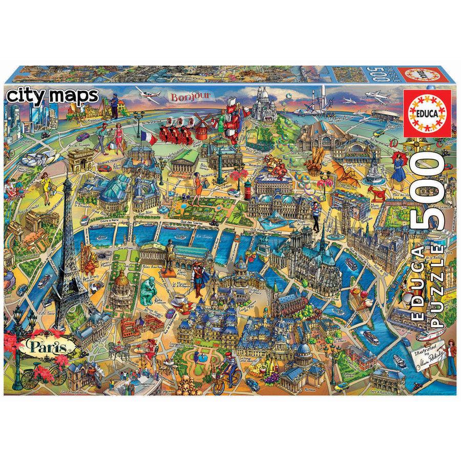 Kaart van Parijs - legpuzzel van 500 stukjes-1