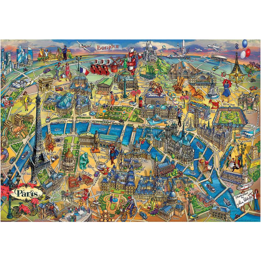 Kaart van Parijs - legpuzzel van 500 stukjes-2