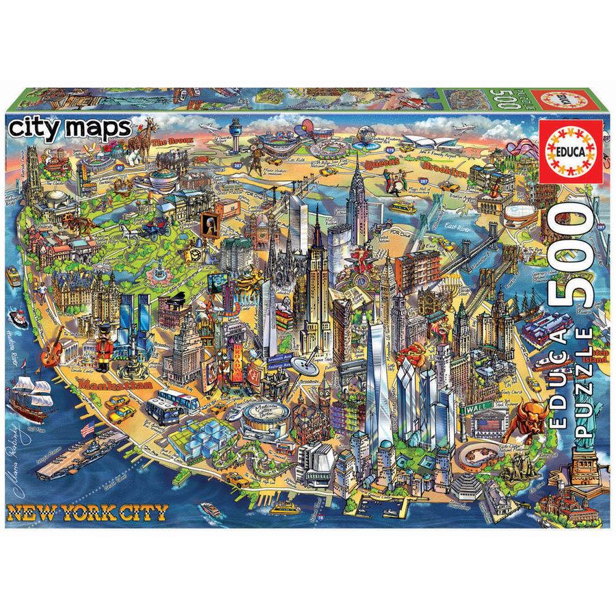 Kaart van New York - legpuzzel van 500 stukjes-1