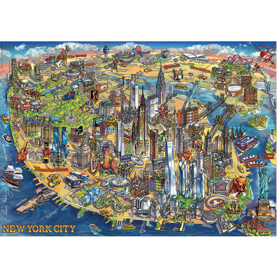 Kaart van New York - legpuzzel van 500 stukjes-2