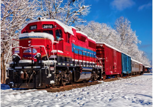 Rode trein in de sneeuw - 1500 stukjes