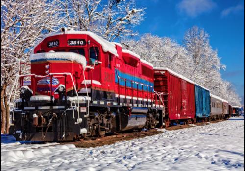 Un train rouge dans la neige - 1500 pièces
