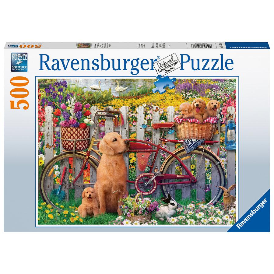 Chiens mignons dans le jardin - puzzle de 500 pièces-2