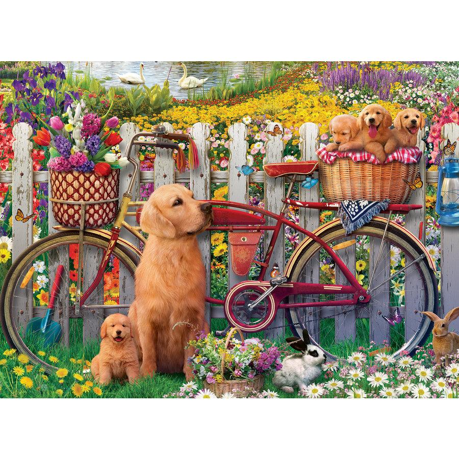 Chiens mignons dans le jardin - puzzle de 500 pièces-1