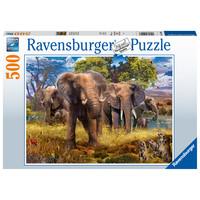 thumb-Famille d'éléphants  - puzzle de 500 pièces-2