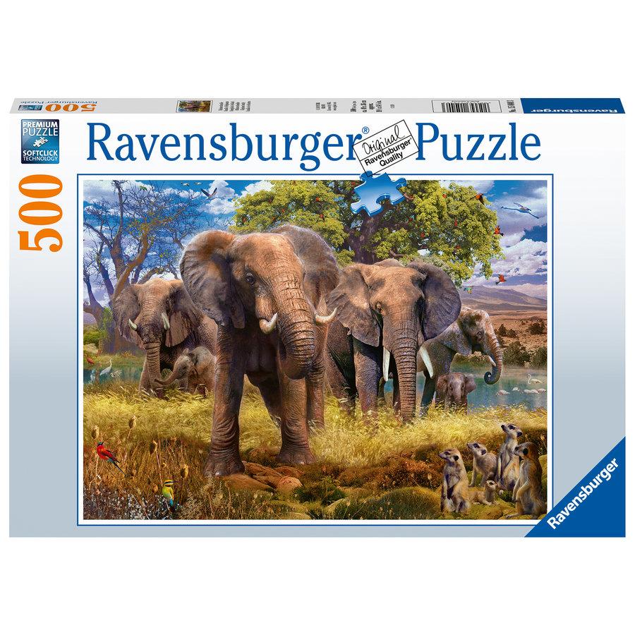 Famille d'éléphants  - puzzle de 500 pièces-2
