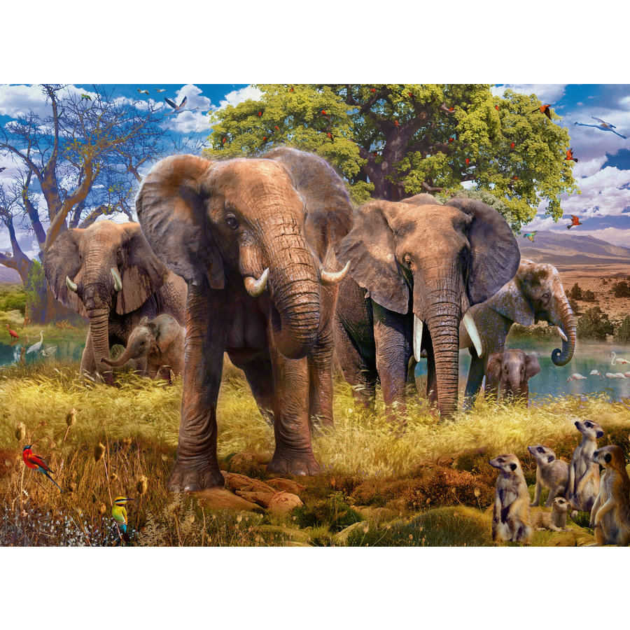 Familie olifanten - puzzel van 500 stukjes-1