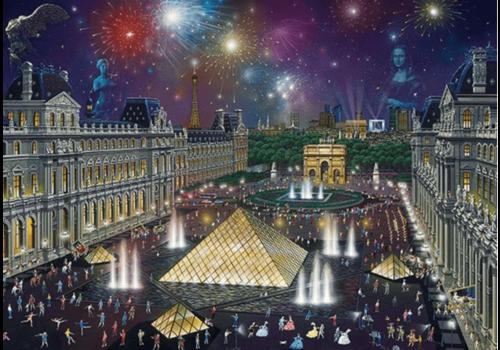 Vuurwerk bij het Louvre - 1000 stukjes