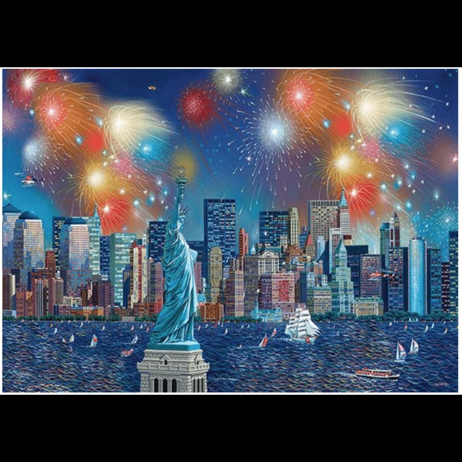 Vuurwerk bij het Vrijheidsbeeld - 1000 stukjes-1