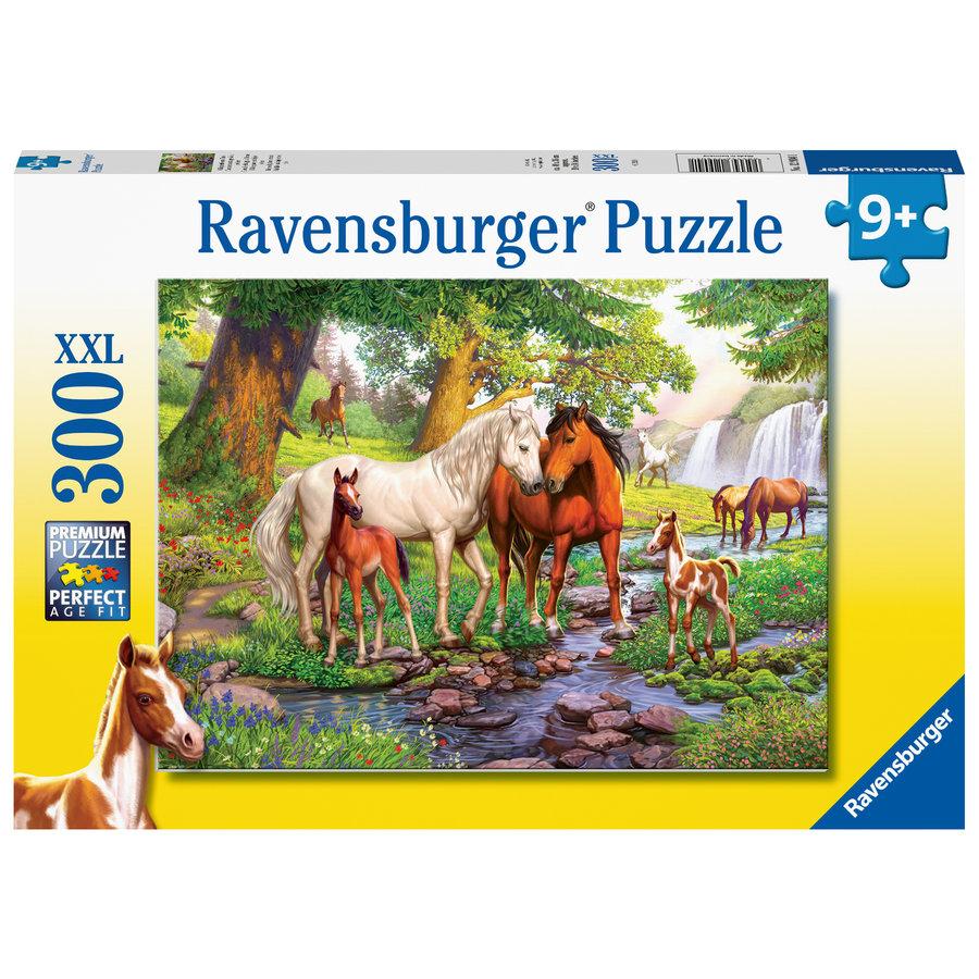 Wilde paarden bij de rivier  - 300 stukjes-2