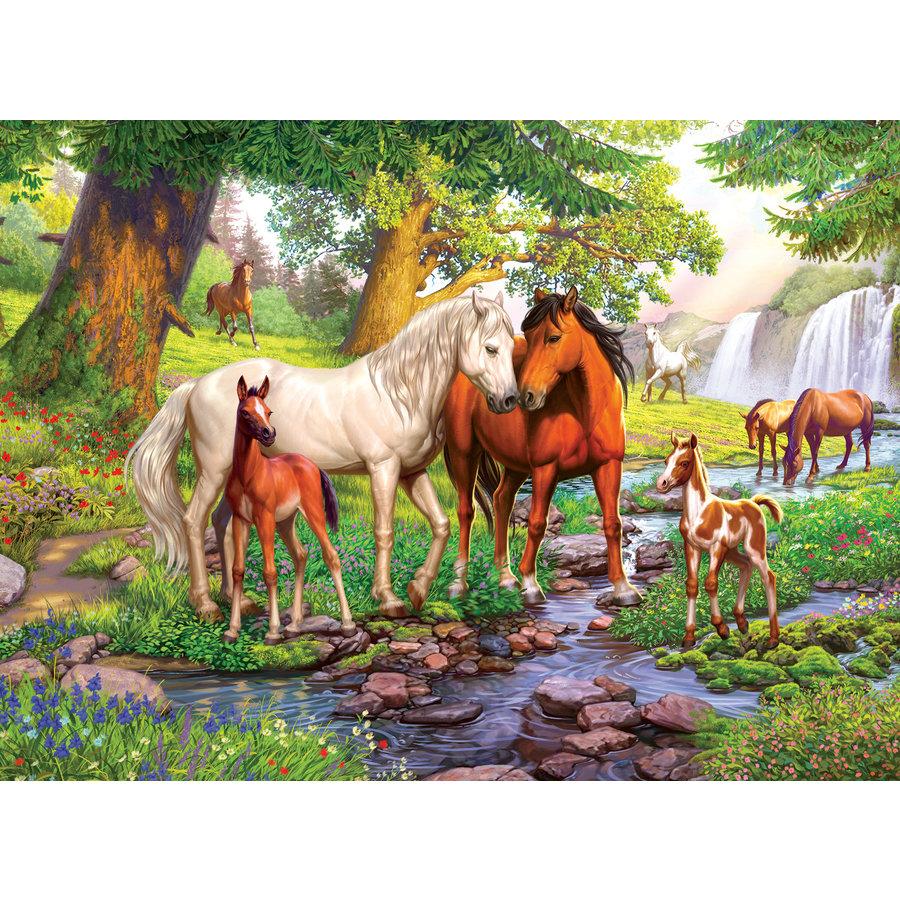 Wilde paarden bij de rivier  - 300 stukjes-1
