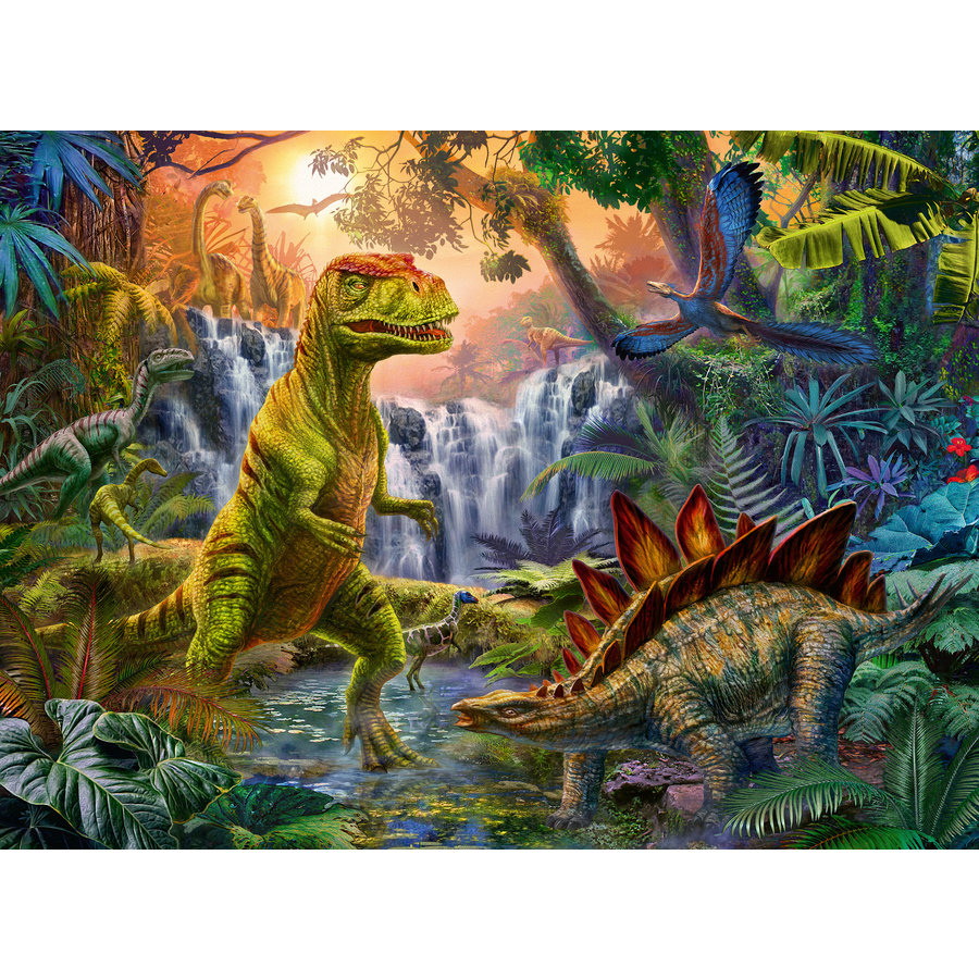 Oasis of dinosaurs - puzzle of 100 pieces-1