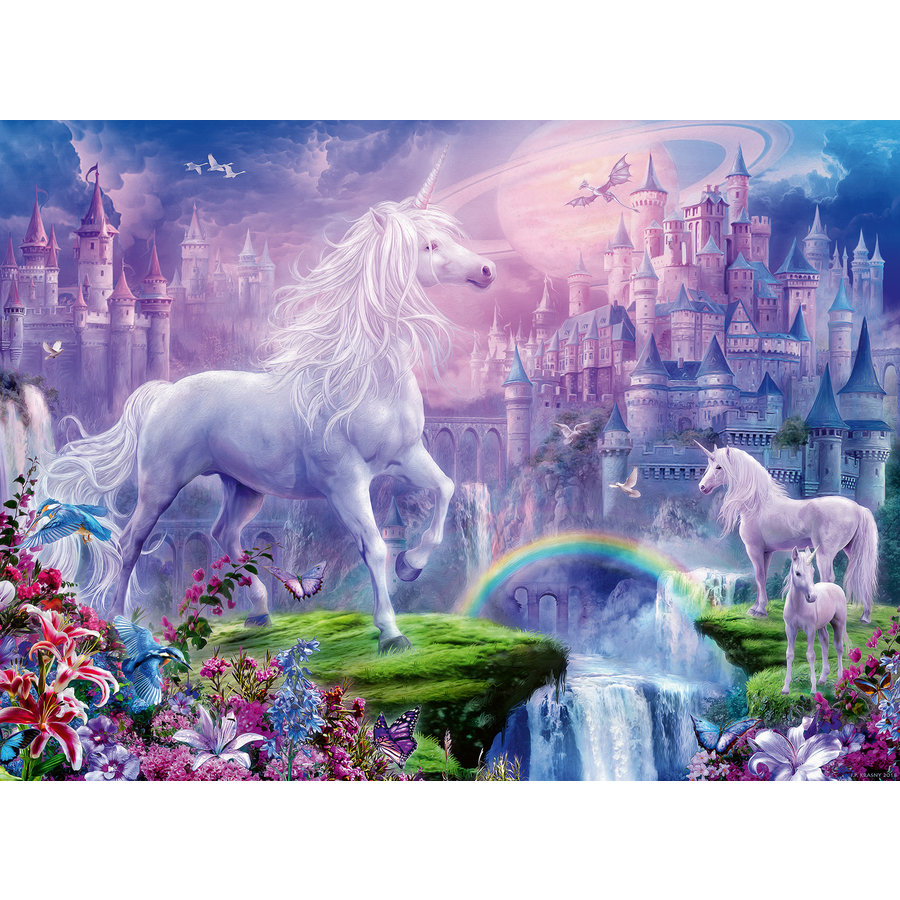 Koninkrijk van de Eenhoorns (glitter) - puzzel van 100 stukjes-2
