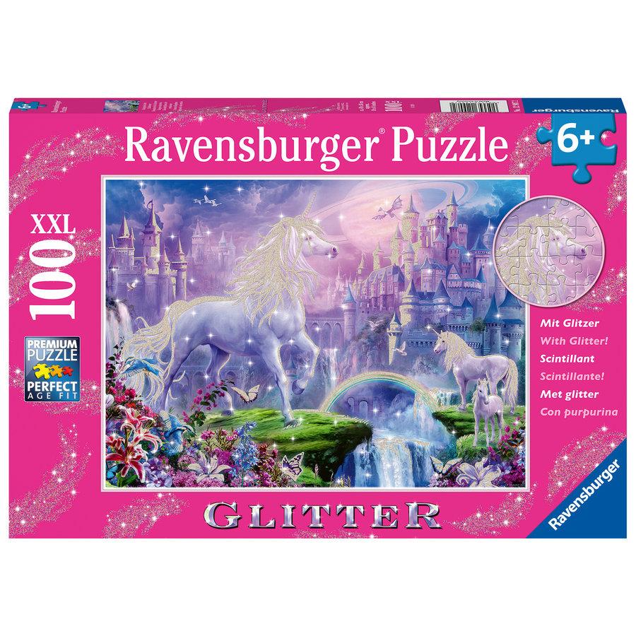 Koninkrijk van de Eenhoorns (glitter) - puzzel van 100 stukjes-1