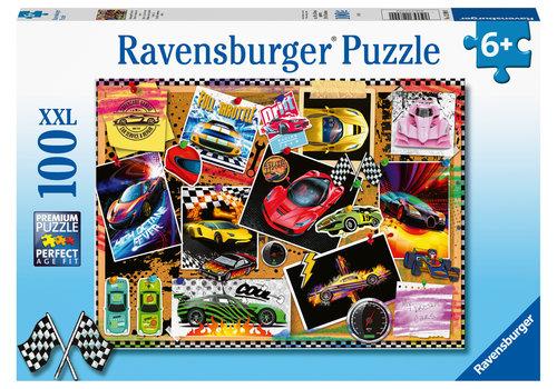 Ravensburger Poster de voitures de cours - 100 pièces