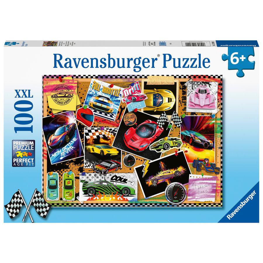 Prikbord met raceauto's - puzzel van 100 stukjes-1