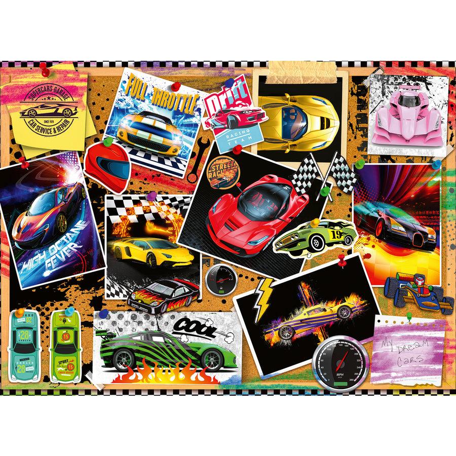 Prikbord met raceauto's - puzzel van 100 stukjes-2