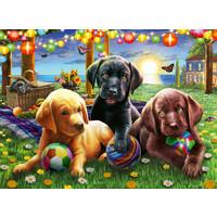 thumb-Pique-nique des chiens - puzzle de 100 pièces-1
