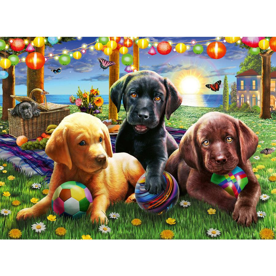 Pique-nique des chiens - puzzle de 100 pièces-1