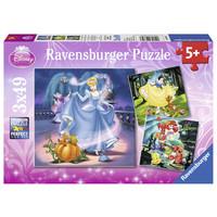 thumb-Disney Princesses   - 3 puzzles of 49 pieces-1