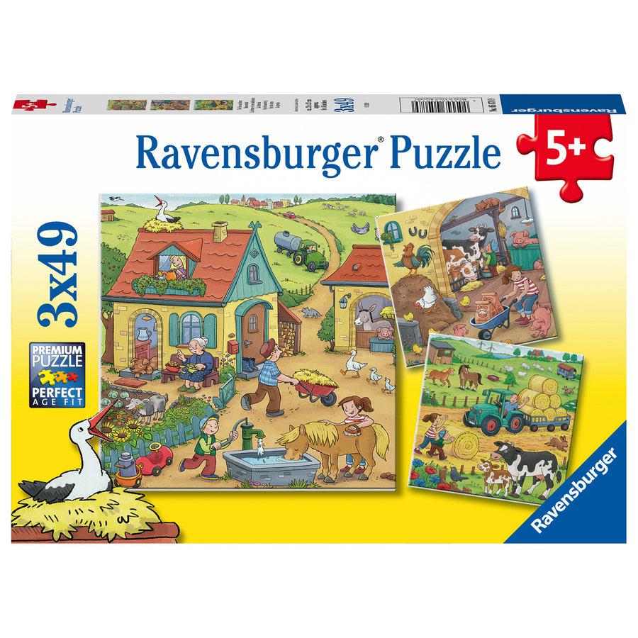 De boerderij - 3 puzzels van 49 stukjes-1