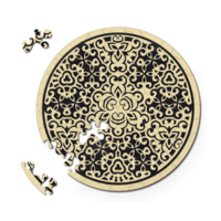 thumb-Zand - Dubbelzijdige Ronde puzzel in hout - 88 stukjes-1