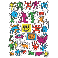 thumb-Keith Haring - Collage - puzzel van 1000 stukjes-1
