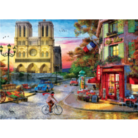 thumb-Sunset at the Notre Dame in Paris - 1000 pieces - jigsaw puzzle-2