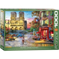 thumb-Sunset at the Notre Dame in Paris - 1000 pieces - jigsaw puzzle-1